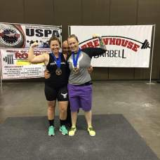 Nancy Honeysuckle and Jessa Weekley posing with Gold